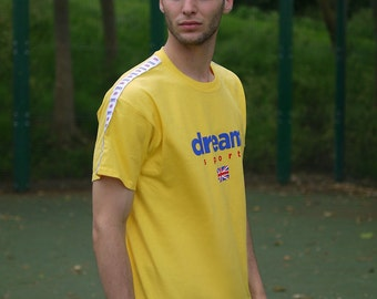 Dream Sport Yellow T-Shirt With Sleeve Taping