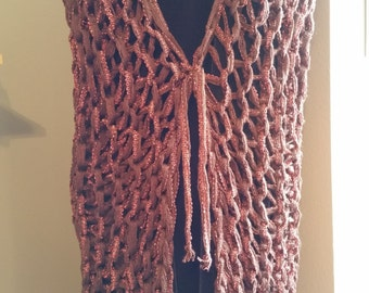 Large Loop Knitted Vest in Sparkly Copper