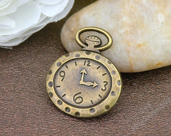 10pcs 27x32mm Antique bronze pocket watch charm pendant,clock pendants p6784