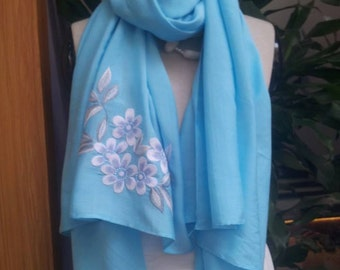 Hand-embroidered blue silk scarf