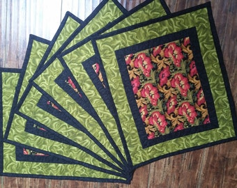Placemats - red & green quilted placemats with black trim - tropical print, holiday colors - 6 available