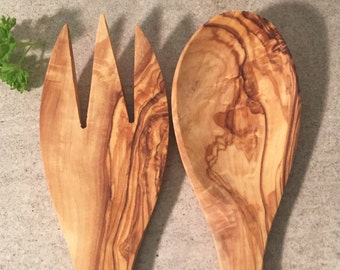Salad Servers Olive Wood, Wooden  Salad Cutlery, Wooden Utensils, Handcarved Spoon.