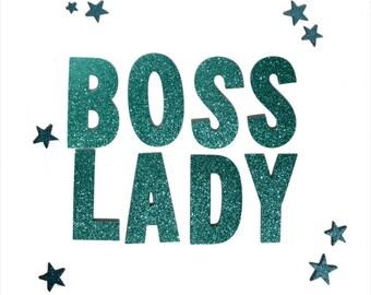 Boss Lady Banner / Letter Banner / Word Banner / Garland / Glitter / Metallic / Feminist / Cute / Gift / Present
