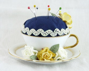 Tea Cup Pin Cushion, Hand Made, Original Antique Limoges Porcelain Cup And Saucer