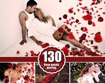 130 flower petals Photo Overlays, Photoshop Overlay,  wedding, Valentine's Day, romantic, love, magic, action, brushes, fantasy, png file