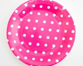 Hot Pink Polka Dots of 12 Paper Plates