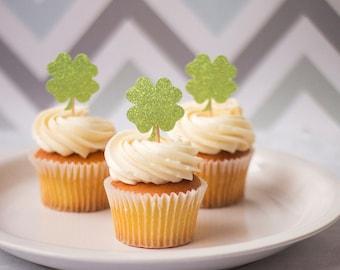 Shamrock Cupcake Toppers, Food Picks, Wedding Cupcake Topper, Party Picks, St. Patrick's Day Decor, Birthday Decor, Food Decor