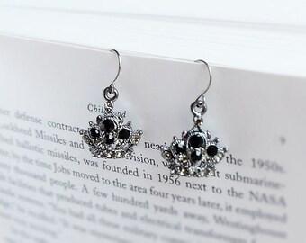 black crown gemstone earrings