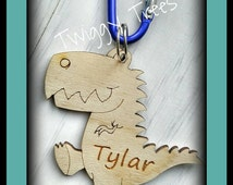 Dinosaur Dino Bag Charms school book backpack personalised name keyring keychain clip wooden engraved gift present friend Roar Harry