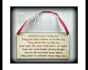 Memory Rememberance Plaque Mum Mother   Engraved  Keychain Gift wooden sentimental wall hanging