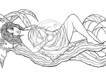 Coloring print - woman lying on a branch