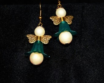 Antique Style Pearl Angel Earrings ** Vintage  ** Eclectic ** Spring Angel **
