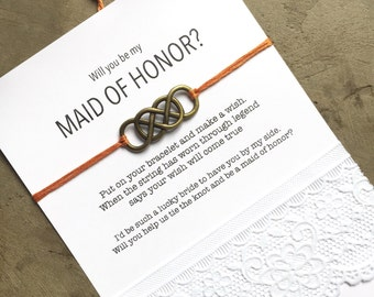 Maid of honor gift, Maid of honor proposal, Will you be my maid of honor gift, Wish Bracelet,  be my maid of honor Bridal party gifts B1