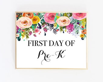 First Day Of Pre K Sign, Pre K Sign, First Day Of School Sign Reusable, Instant Download First Day Of School, School Sign, Back to School