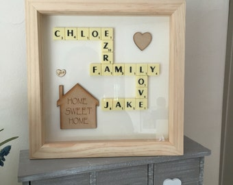 Scrabble Art Box Picture Frame Gift gift occasion new home wall art