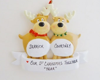 Personalized Reindeer Couple Celebrating Our 1st Christmas Together - Personalized Reindeer Couple Ornament for a Couple