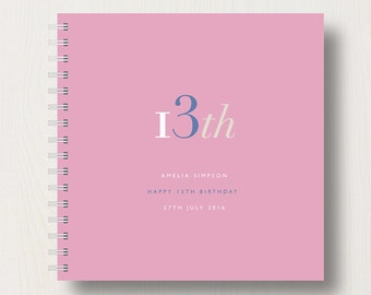 Personalised 13th Birthday Memories Book or Album