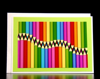 Pencil crayon card Card for artist Colorful pencil crayons
