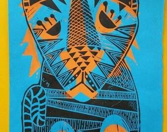 Multi layer Mid-century/Retro Tiger Lino Print
