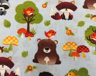 Woodland Forest Animlals/Cotton Fabric/Quilting/Home Dec/Bedding/Sewing/High Quality/Fat Quarter/Yardage
