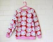 Girls Sweatshirt/The Small Faces Fleece Printed Sweatshirt/Jumper/Baseball tee/Raglan Sweater/Hipster Girls/Organic Cotton.