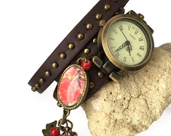 watch vintage brown leather strap studded effect for woman