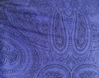 "Purple Paisley Cotton Fabric End of Bolt 27"""