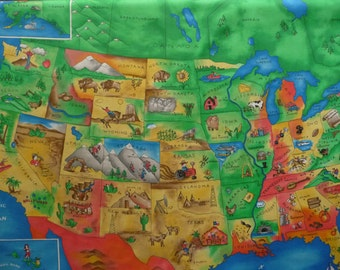 """Fabric Map Panel - US Map Fabric - United States Map Fabric - 44"""" wide x 35 3/4"""" tall : Clearance"""