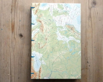 Hardback Coptic Stitch Travel Journal Sketchbook Notebook Vintage Map Atlas Upcycled Drawing Watercolour Painting Writing Art Skeching