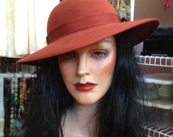 Vintage Peter Bettley Hat * Rust Orange