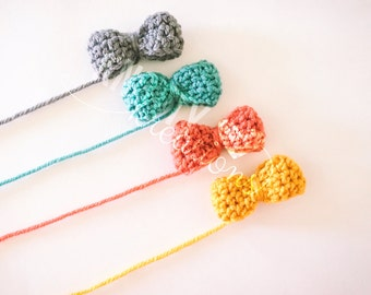 Mini Bow Headbands// Crochet Bow Nylon Headband//