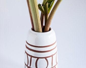 Large Vase with Plain Scandinavian Design Brown White Glaze