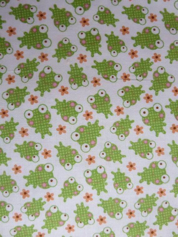 Riley blake sweet baby girl frog c4292 white frog fabric for Baby girl fabric
