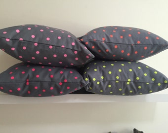 SALE  20% OFF- Grey & Neon Spot throw cushion cover / Fluro Spot Pillow cover /40cm throw pillow