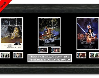 Star Wars Trilogy film cell (1977,1980,1983) original Filmcell, holographic serial numbered.