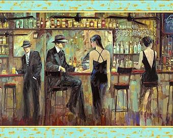 "New!  Bar Vintage Scene - 24"" x 44"" Digital 100% Cotton Quilt Panel"
