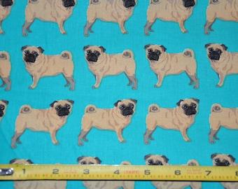 New!  1/2 Yard of Pug - Dog Fabric - Fawn Pug Dog 100% Cotton Quilt Fabric