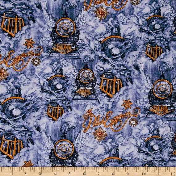 One yard of polar express train 100 cotton quilt fabric for Train fabric by the yard
