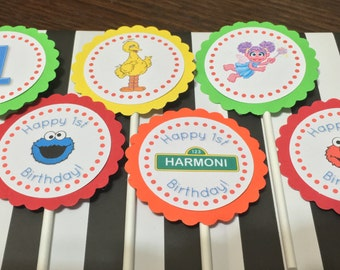 Sesame Street cupcake toppers, sesame street birthday, big bird, elmo, cookie monster, abby cadaby, first birthday, sesame street party