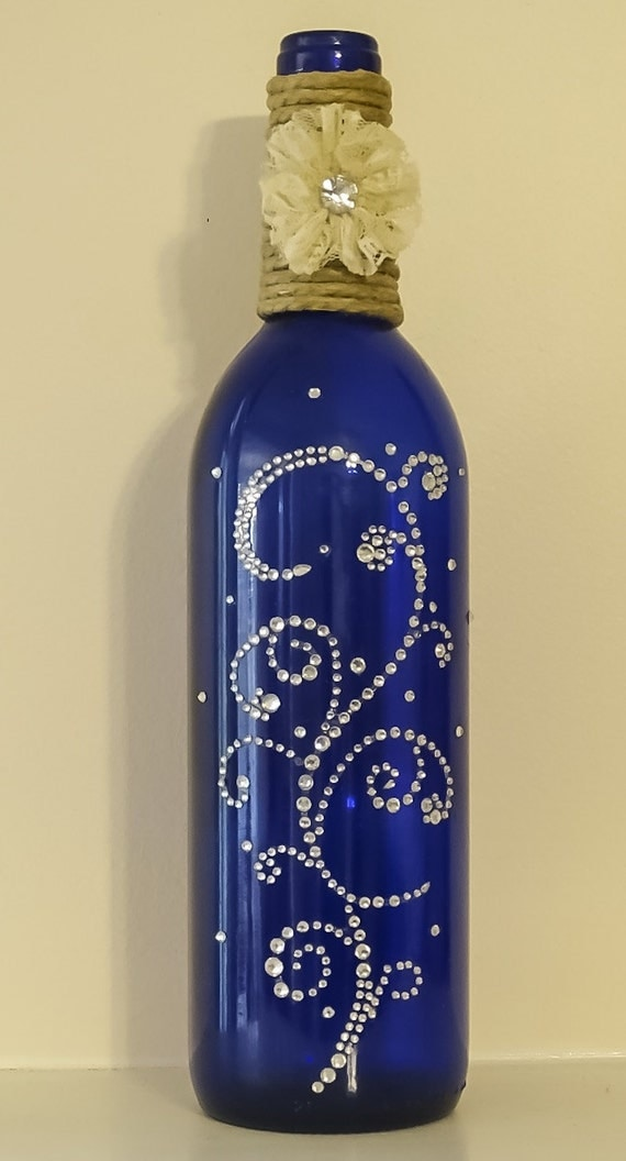 Cobalt blue wine bottle with twine lace and rhinestone for Easy wine bottle painting ideas
