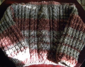 Hand knit baby cable design pullover
