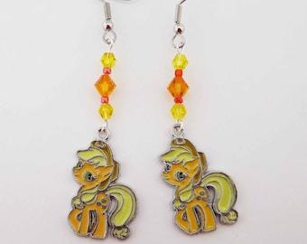 My Little Pony Applejack Swarovski crystal earrings pony cosplay jewelry