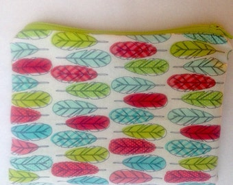 Feather Doodles Cosmetic Bag Pencil Case 5x7