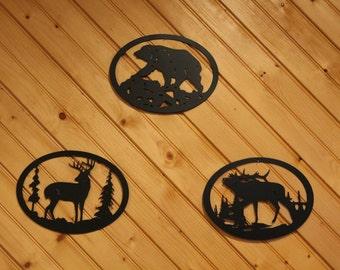 Bear, Elk,  & Deer Metal Wall Art