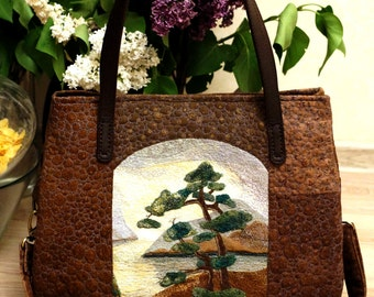 Dreams of Japan. Quilt / Patchwork Handmade Bag with Applique