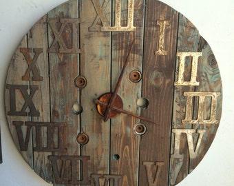 Wood spool clock- reclaimed wood clock- large 31 inch- wood clock- wall clock-wall art