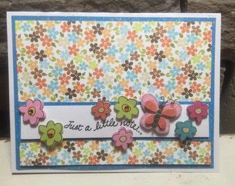 Butterfly & Flower Just a Little Note...Card