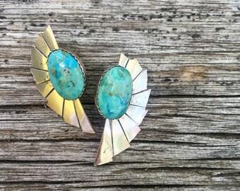Vintage Sterling Silver Southwestern Native American Turquoise Earrings