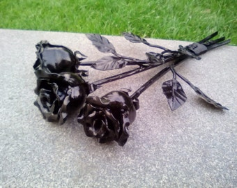 bouquet from three Iron Rose, Hand Forged Iron Rose, 3 Rose, three Hand Forged Rose, Metal Rose, Wrought Iron Hand Forged Rose, pure iron