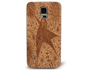 Laser Engraved Hummingbird Floral Doodle Zentangle Inspired on Genuine Wood phone Case for Galaxy S5, S6 and S6Edge S-007